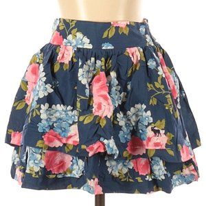 Abercrombie Tier Floral Navy Mini Skirt NWT Size S